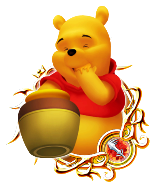It is a graphic of Playful Images of Pooh Bear